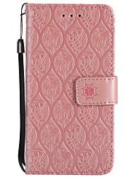 Недорогие -Кейс для Назначение LG K8 LG LG K10 LG K7 V20 K10 (2017) Бумажник для карт Кошелек со стендом Флип Рельефный Чехол Цветы Твердый Кожа PU