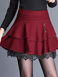 cheap -Women's Holiday Going out Above Knee Skirts,Simple A Line Swing Cotton Polyester Solid Lace Winter Autumn/Fall