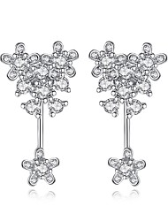 cheap -Women's Cubic Zirconia Front Back Earrings / Ear Jacket - Flower Sweet, Fashion Silver For Daily / Formal