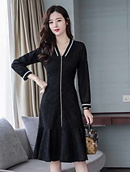 cheap -Women's Daily Casual Sheath Dress,Solid Color Block V Neck Knee-length Long Sleeve Polyester Spring Fall Mid Rise Inelastic Thin