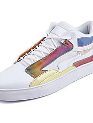 baratos -Homens sapatos Pele PU Primavera Outono Conforto Tênis para Casual Branco Preto Arco-íris