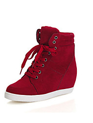 cheap -Women's Shoes Nubuck leather Spring Fall Comfort Bootie Boots Wedge Heel Booties/Ankle Boots for Casual Red Black