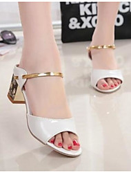 cheap -Women's Shoes PU Summer Comfort Sandals Chunky Heel Open Toe for Casual Outdoor Gold White Silver