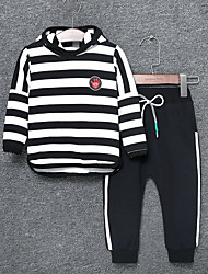cheap -Boys' Daily Striped Color Block Clothing Set, Nylon Spring Fall Long Sleeves Casual Green Black Red