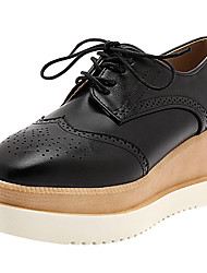 cheap -Women's Shoes Synthetic Microfiber PU Spring Summer Comfort Oxfords Creepers Open Toe for Casual Outdoor Black Brown Almond Burgundy
