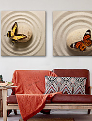 abordables -Toile Rustique Moderne, Deux Panneaux Toile Carré Imprimé Décoration murale Décoration d'intérieur