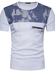 cheap -Men's Work Cotton Slim T-shirt - Color Block Camouflage, Print Round Neck