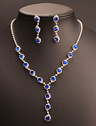 cheap -Women's Cubic Zirconia / Synthetic Sapphire Jewelry Set - Drop Classic, Vintage, Elegant Include Drop Earrings / Choker Necklace / Bridal Jewelry Sets Blue For Wedding / Party / Engagement