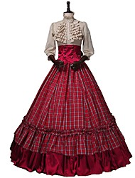 cheap -Renaissance Victorian Costume Women's Adults' Outfits Red+Golden Vintage Cosplay 50% Cotton/50% Polyester 3/4 Length Sleeves Puff/Balloon