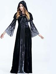 abordables -Vampiros Parca Vestidos Capa Todo Halloween Festival / Celebración Disfraces de Halloween Negro Un Color Calaveras Negro y Blanco