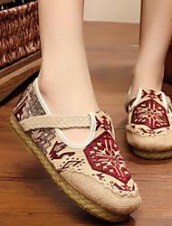 Недорогие -Жен. Обувь Лён Весна / Осень Удобная обувь На плокой подошве На низком каблуке Красный / Синий