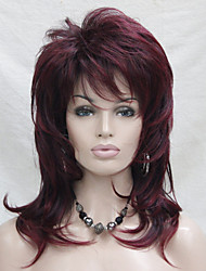 cheap -Synthetic Wig Wavy Layered Haircut With Bangs Side Part Red Women's Capless Natural Wigs Medium Synthetic Hair
