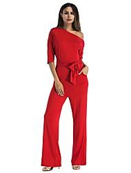 cheap -Women's Club Basic Street chic Jumpsuit - Solid Color Wide Leg One Shoulder