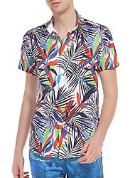 Kortærmet Krave Herre Blomstret Sommer Simple Daglig Skjorte, Polyester