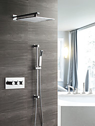 Недорогие -современный настенный дождевой душ ручной душ в комплекте термостатический керамический клапан три ручки четыре отверстия хром, смеситель для душа