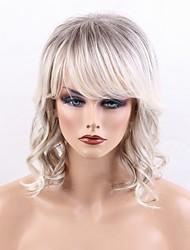 cheap -Human Hair Capless Wigs Human Hair Deep Wave Layered Haircut With Bangs Side Part Highlighted/Balayage Hair Machine Made Wig