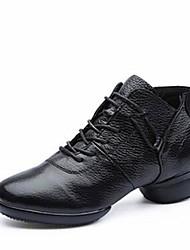 Недорогие -Жен. Танцевальные сапожки Наппа Leather С раздельной подошвой Кроссовки Профессиональный стиль На низком каблуке Белый Черный Красный 1