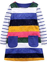Недорогие -Девичий Платье Повседневные Праздники Хлопок Полоски Очаровательный На каждый день Цвет радуги