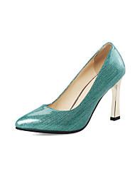 baratos -Mulheres Sapatos Couro Envernizado Primavera Outono Conforto Saltos Salto Agulha Dedo Apontado para Casamento Festas & Noite Dourado