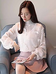 cheap -Women's Daily Work Vintage Active Spring Fall Blouse,Solid Stand Long Sleeve Polyester