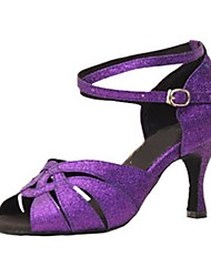 cheap -Women's Latin Shoes Sparkling Glitter Sandal / Heel Customized Heel Customizable Dance Shoes Purple / Professional