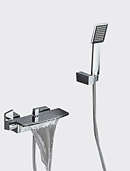 cheap -Contemporary Tub And Shower Waterfall Widespread Ceramic Valve Two Holes Two Handles Two Holes Chrome, Bathtub Faucet