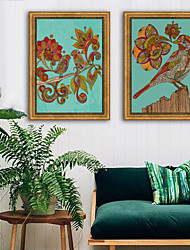 cheap -Animals Floral/Botanical Illustration Wall Art,Plastic Material With Frame For Home Decoration Frame Art Living Room Indoor