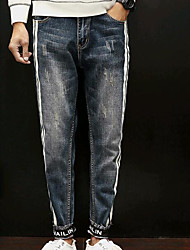 Herre Normal Simple Mikroelastisk Jeans Bukser, Alm. taljede Polyester Stribet Vinter