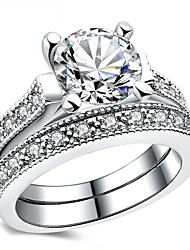 cheap -Women's Cubic Zirconia Band Ring - Vintage, Elegant 6 / 7 / 8 Silver For Wedding / Engagement / Ceremony