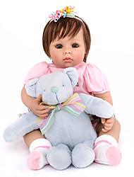 billige -NPK DOLL Reborn-dukker Babypiger 20 inch Silikone / Vinyl - livagtige, Hånd Anvendte Øjenvipper, Tippede og forseglede negle Børne Pige Gave / CE / Naturlig hudfarve / Floppy Head