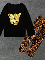 cheap -Girls' Animal Clothing Set, Polyester Spring Fall Long Sleeves Black Beige Dark Gray