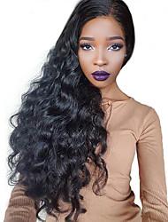 Недорогие -Натуральные волосы Реми Бразильские волосы Кружевной парик Волнистый 360 фронтальных С пушком 360 Лобовой Необработанные 100%