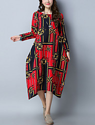 billige -Dame I-byen-tøj Afslappet / Kineseri Bomuld Løstsiddende Løstsiddende Kjole - Farveblok, Trykt mønster Midi / Knælang