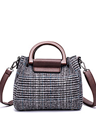 cheap -Women's Bags Linen / PU Tote 2 Pieces Purse Set Zipper for Office & Career Gray / Brown