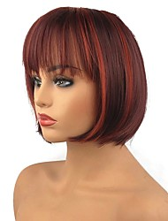 cheap -Synthetic Wig Straight Bob Haircut Highlighted/Balayage Hair Red Capless Celebrity Wig Party Wig Natural Wigs Medium Synthetic Hair