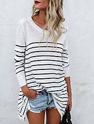 cheap -Women's Basic Loose T-shirt-Striped