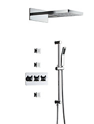 cheap -Contemporary Wall Mounted Rain Shower Handshower Included Ceramic Valve Three Handles Five Holes Chrome, Shower Faucet