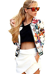 cheap -Women's Daily Weekend Street chic Spring/Fall Regular Jacket, Floral Print Round Neck Roman Knit