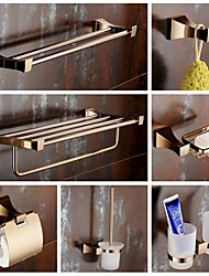 cheap -Bathroom Accessory Set Modern Brass 7pcs - Hotel bath Toilet Brush Holder soap dish tower bar Robe Hook Toilet Paper Holders