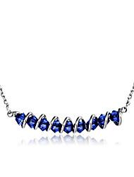 abordables -Mujer Cristal Collares con colgantes - Cristal, Plateado Ola Clásico, Moda Azul Oscuro Gargantillas 1 Para Fiesta, Diario