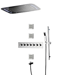 cheap -Contemporary Wall Mounted Rain Shower Handshower Included Thermostatic LED Ceramic Valve Five Handles Nine Holes Chrome, Shower Faucet