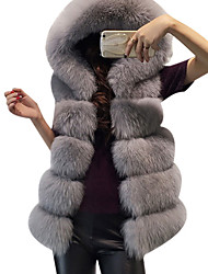 cheap -Women's Daily Simple Casual Winter Regular Vest,Solid Hooded Faux Fur