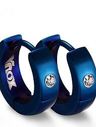 cheap -Men's Cubic Zirconia Hoop Earrings - Stainless Steel Fashion Black / Silver / Blue For Gift / Daily