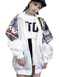 abordables -Veste Normal Femme,Imprimé Sortie Chic de Rue Punk & Gothique Automne Col de Chemise Coton Polyester énorme