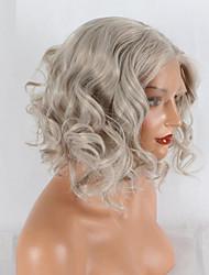 Недорогие -Синтетические кружевные передние парики Естественные волны Искусственные волосы Парик в афро-американском стиле Серый Парик 20-40 дюйм Лента спереди Серый