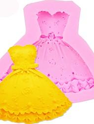 baratos -3d saia princesa vestido de forma molde do bolo de silicone molde fondant ferramenta de decoração de cozimento