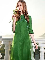 abordables -Mujer Tejido Oriental Línea A Corte Ancho Vestido - Básico, Color sólido Escote Chino