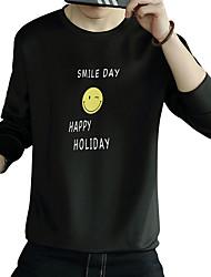 Pánské Jednobarevné Písmeno Denní Jednoduchý Šik ven Tričko Jaro Podzim Polyester Spandex Kulatý Dlouhý rukáv