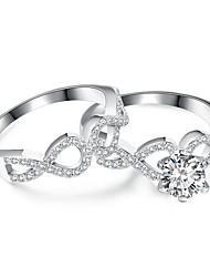 preiswerte -Damen Kristall Kubikzirkonia Strass Silber Bandring - 2pcs Kreisform Unendlichkeit Retro Elegant Für Hochzeit Verlobung Zeremonie
