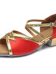 baratos -Sapatos de Dança Latina Glitter / Courino Sandália / Salto Treino Presilha Salto Robusto Personalizável Sapatos de Dança Vermelho